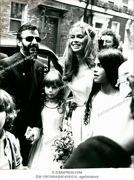 Apr. 04, 1981 - Beatles Together For Ringo's Wedding: Former Beatles paul Mocartney and George Harrison were among the celebraities who attended the wedding of...