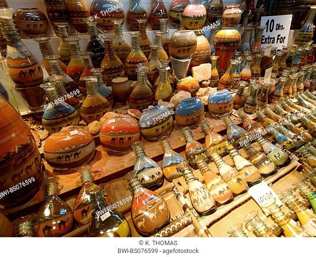Dubai, Souk, market in hotel area of Madinat Jumeirah, sand-filled bottles, United Arab Emirates, Dubai
