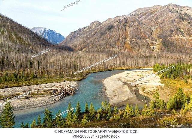 Verendrye Burn and Vermilion River in the Kootenay National Park, British Columbia, Canada