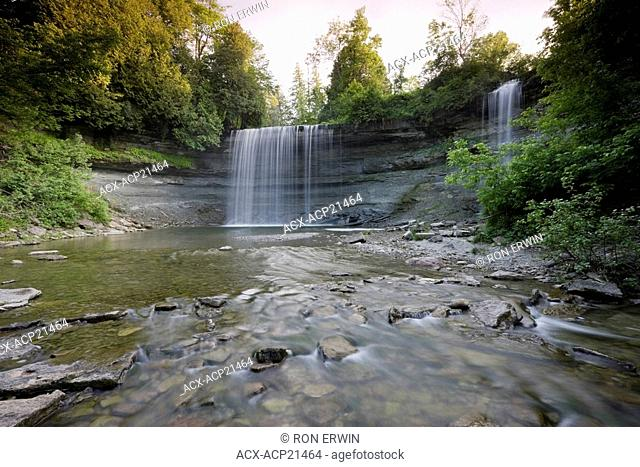 Bridal Veil Falls - a Niagara Escarpment plunge type waterfall in Kagawong, Ontario, Canada, on Manitoulin Island the largest freshwater island in the world