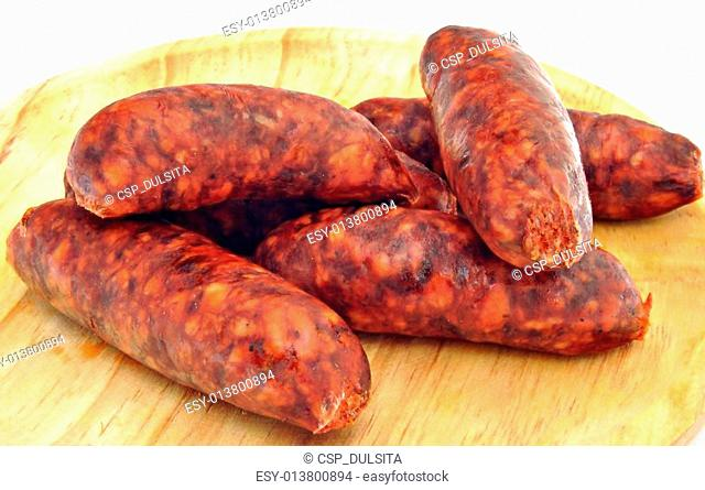 Sausages stacked