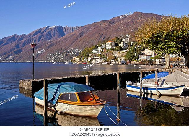 Monte Verita and Moscia, old port, Ascona, Lago Maggiore, Ticino, Switzerland