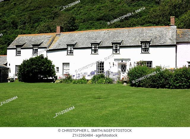 The stone terraced cottages of Boscastle in Cornwall England
