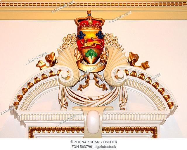 Wanddekoration in der Lobby des Parlamentsgebäude, Hotel du Parlement, Quebec City, Kanada / Wall decoration in the lobby of the parliament building