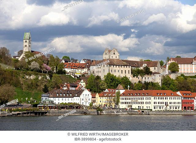View of the town with the parish church and Burg Meersburg, Old Castle, Lake Constance, Baden-Württemberg, Germany
