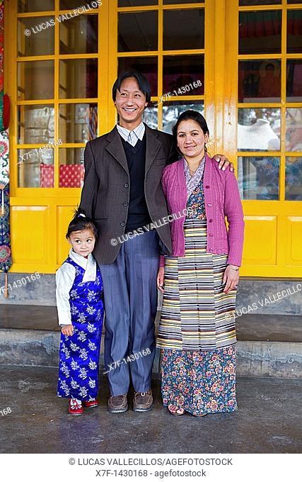 Tibetan family, in Namgyal Monastery,in Tsuglagkhang complex  McLeod Ganj, Dharamsala, Himachal Pradesh state, India, Asia