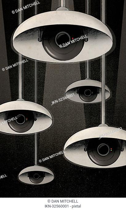 CCTV eyes under lampshades peeking