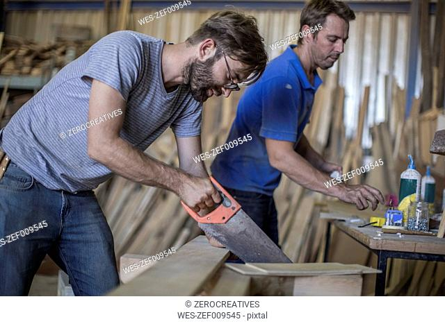 Carpenter working with crosscut saw in workshop