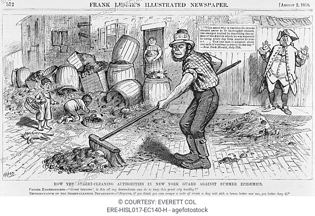 Political cartoon protesting the ineffective methods of the New York City Street cleaning. Caricature of an Irish street cleaner