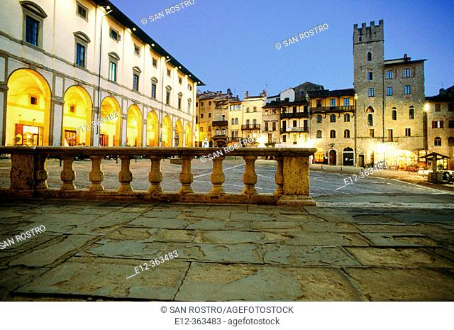 Vasari square and Vasari Loggia. Arezzo. Tuscany. Italy