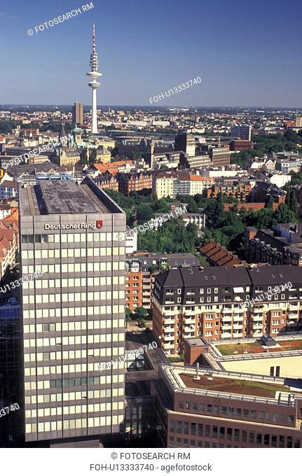 Hamburg, aerial, Germany, Europe, Aerial view of the city of Hamburg