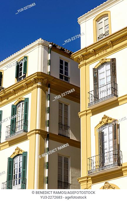 Detail of buildings with shuttered windows, Plaza de la Merced, Malaga, Andalucía, Spain