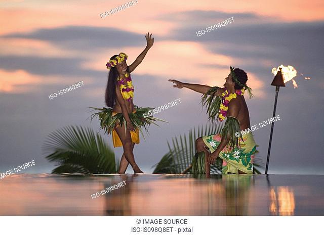 Tamure dancers in tahiti