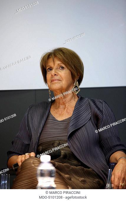 L'attrice italiana Lella Costa during her speech at the XXIX International Book Fair in Turin. Lingotto Fiere, May 15, 2016