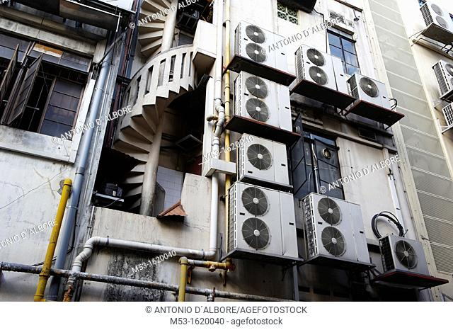 Air conditioning units outside a commercial building in Boat Quay  Singapore