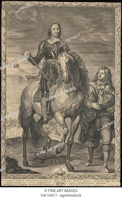 Oliver Cromwell (1599-1658) on horseback. Lombart, Pierre (1613-1682). Copper engraving. Baroque. c. 1635. Rijksmuseum, Amsterdam. 44x35. Graphic arts