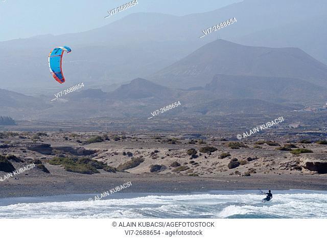 Kite Surfing in El Medano, Tenerife, Canary Islands, Spain
