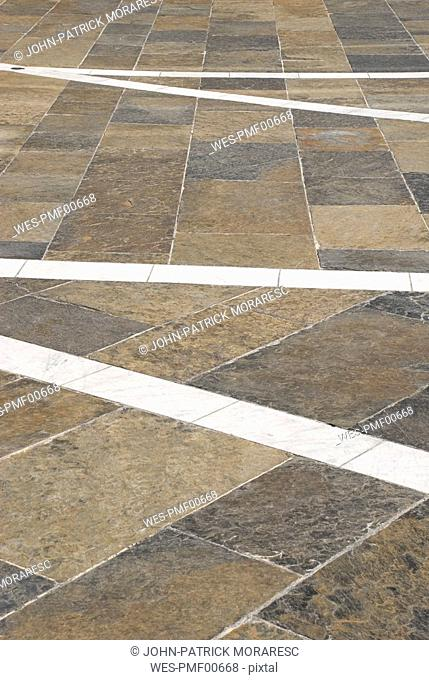 Square with flagstone paving