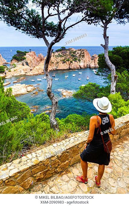 Woman in a viewpoint. Aigua Xelida, Palafrugell. Costa Brava, Gerona. Catalonia, Spain, Europe