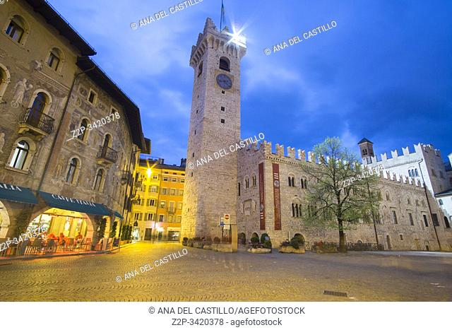 TRENTO ITALY ON APRIL 2019: Trento is a city on the Adige River in Trentino-Alto Adige/Sudtirol in Italy. Cityscape by dusk