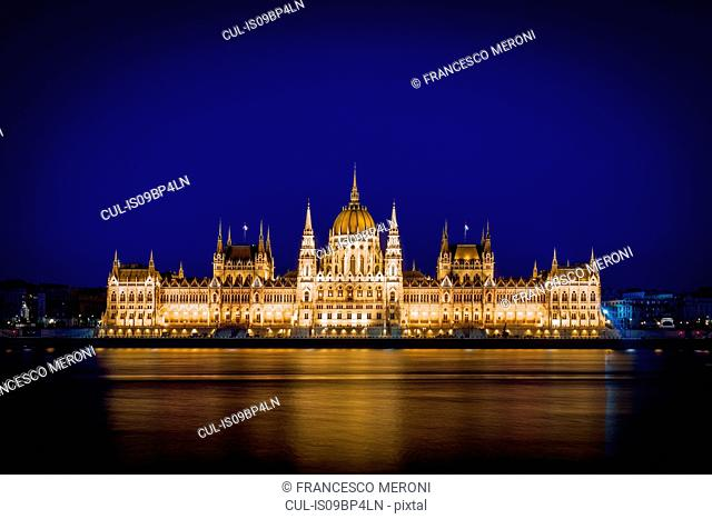 Hungarian Parliament building illuminated at night, Budapest, Hungary
