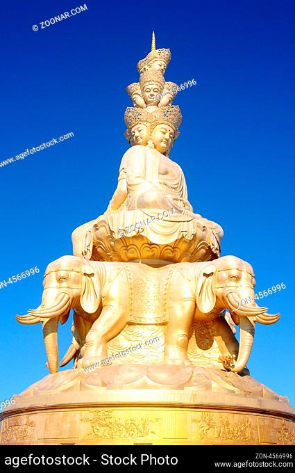 The famous Golden Buddha statue at the top of Emei Mountains in Sichuan, China