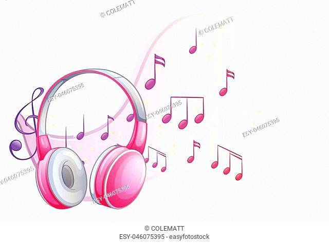 Pink headphone with music notes in background illustration
