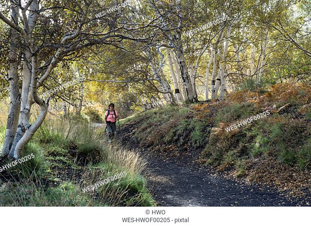 Italy, Sicily, Mount Etna, hiker on trail