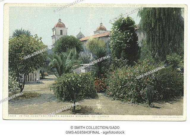 Cemetery of Santa Barbara mission, with lush garden, California, USA, 1914. From the New York Public Library. ()