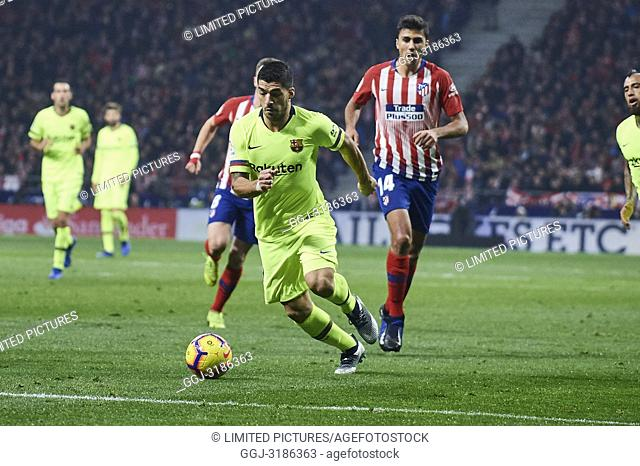 Luis Suarez (forward; Barcelona) before La Liga match between Atletico de Madrid and F.C. Barcelona at Wanda Metropolitano on November 24, 2018 in Madrid, Spain