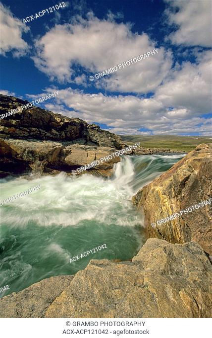 Waterfall on river emptying into western end of Wager Bay, Ukkusiksalik National Park, Nunavut, Canada