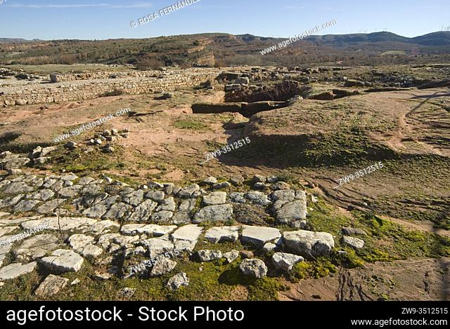 Roman city of Tiermes, Centuries I to III A.C., forum area and remains of calzada -roman road-, Pela Mountains, Montejo de Tiermes, province of Soria