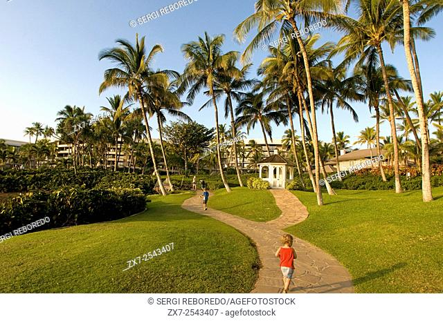 Gardens of Hilton Waikoloa Village with beach and palm trees, The Big Island, Hawaii, United States of America