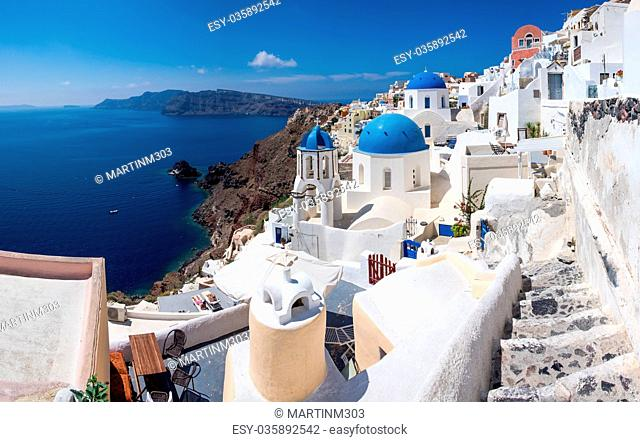 Panoramic scenic view of Oia village on Santorini