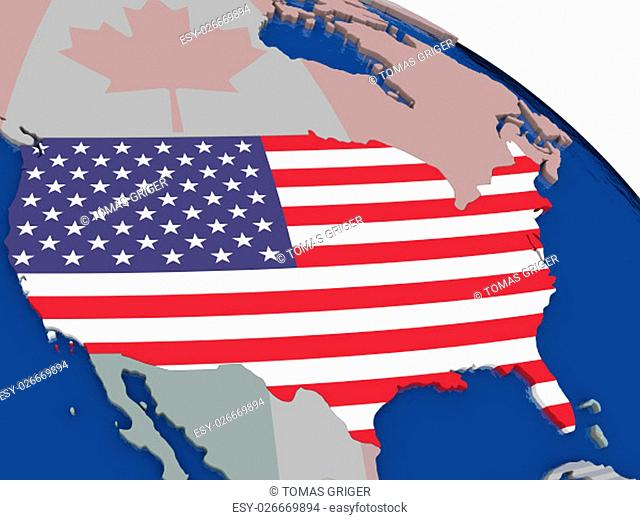USA with flag highlighted on model of globe. 3D illustration