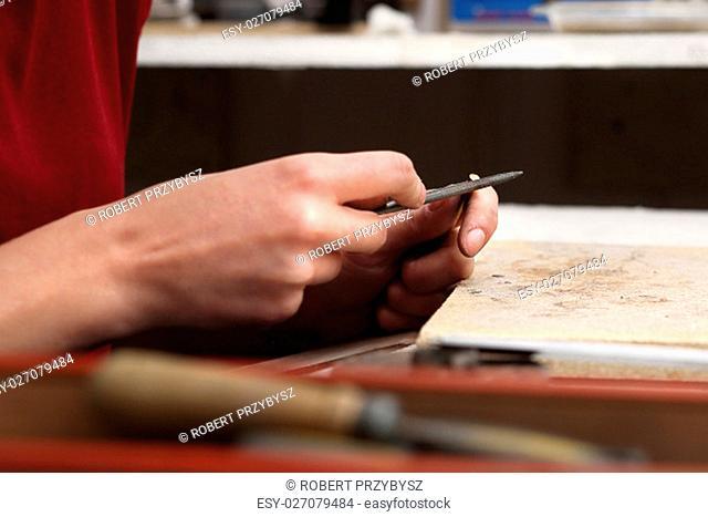 work on the creation of jewelery,jeweler saws file