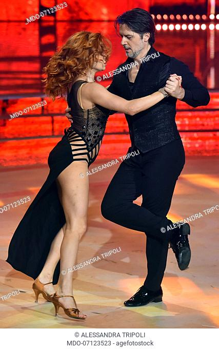 The Italian actor Ettore Bassi with his dance teacher Alessandra Tripoli second finishers during the final episode of the show Ballando Con Le Stelle auditorium...