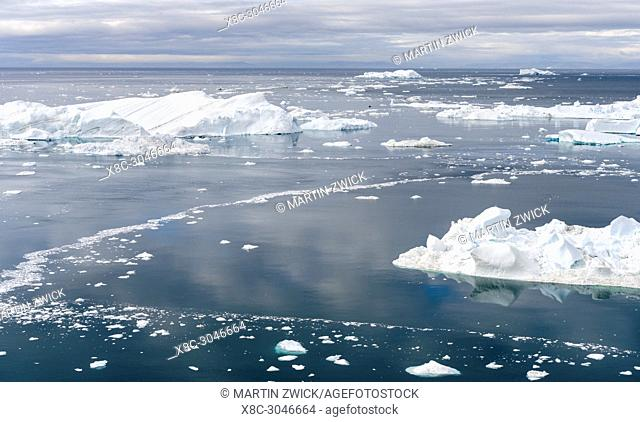 Ilulissat Icefjord also called kangia or Ilulissat Kangerlua, view over Disko Bay. The icefjord is listed as UNESCO world heritage