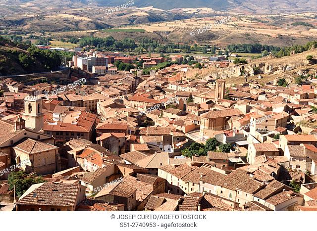 Overview of the medieval village from the Walls of Daroca, Zaragoza province, Aragon, Spain