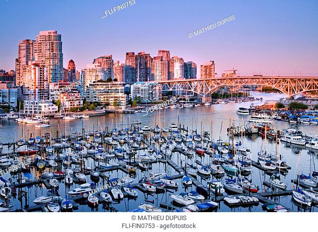 Vancouver downtown and False Creek marinas, view from Burrard St. bridge, Vancouver, British Columbia