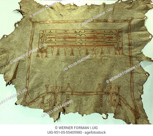Buffalo robe with the characteristic box and border design of a womans garment