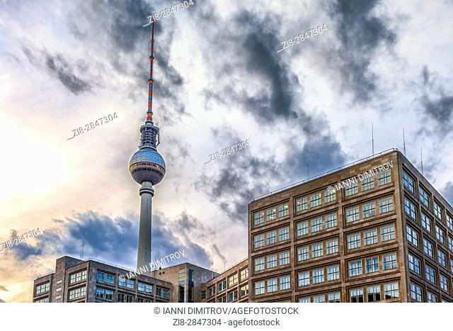 The Fernsehturm is a television tower in central Berlin, Germany. Alexanderplatz ,Berlin-Mitte,Germany