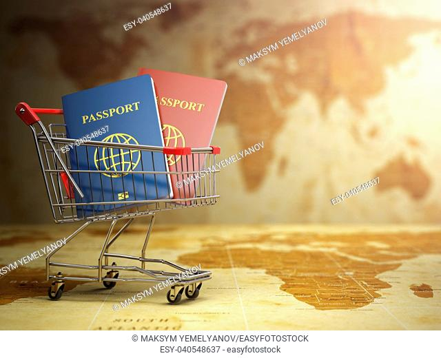 Passports in shopping cart with DOF effect. Paperwork to emigrate. 3d