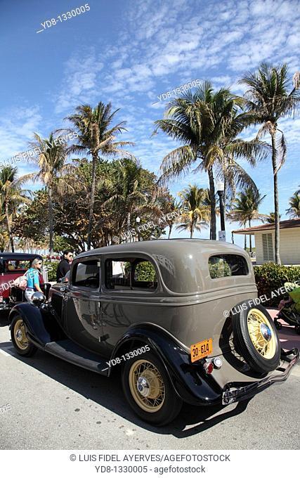 Old car at the Festival in Ocean Dr, Miami Beach, Florida, USA
