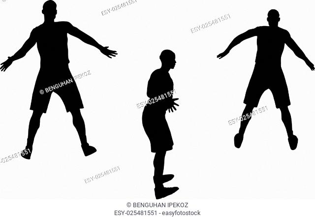 vector image - basketball player silhouette in defense pose, isolated on white background