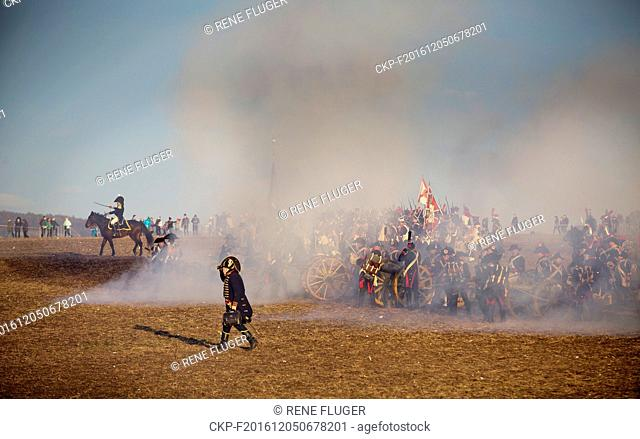 Military history enthusiasts perform an re-enactment of the Battle of Austerlitz (Slavkov) on the occasion of it's 211th anniversary in Tvarozna, Czech Republic