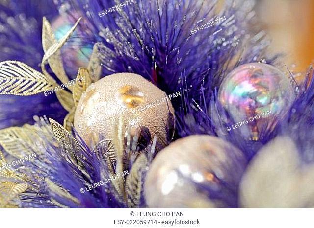 christmas ball on blue color christmas tree