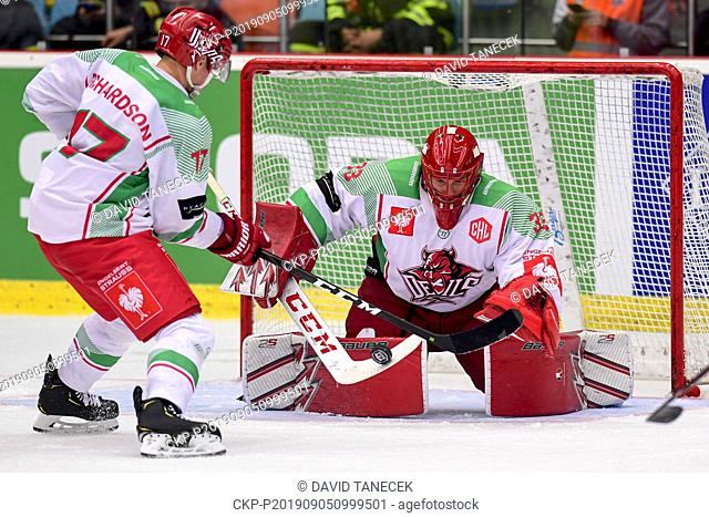From left hockey player JOEY HADDAD, BEN BOWNS of Cardiff in action during the Champions Hockey League H group game: Hradec Kralove vs Cardiff Devils in Hradec...