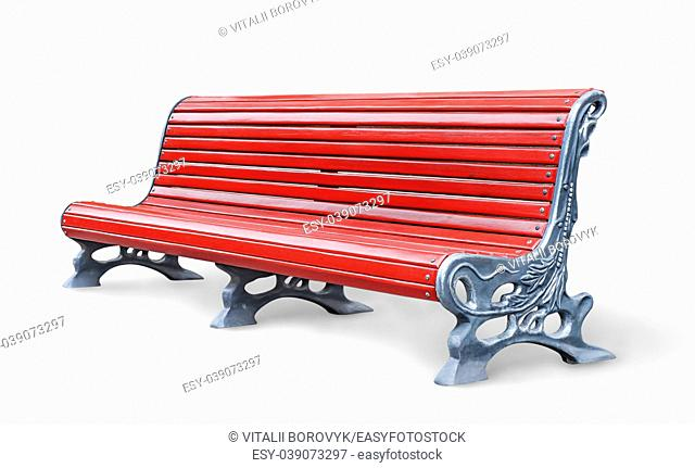 Red park bench isolated on white background