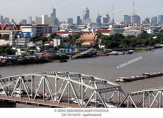 Bangkok skyline with Chao Praya River Thailand